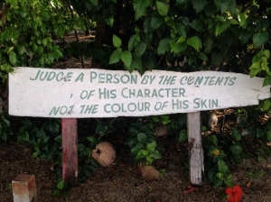 Sign: Judge a person by the contents of his character not the color of his skin.